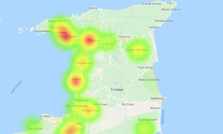 Trinidad & Tobago Diabetes Heatmap