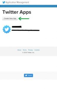 Create new Twitter application